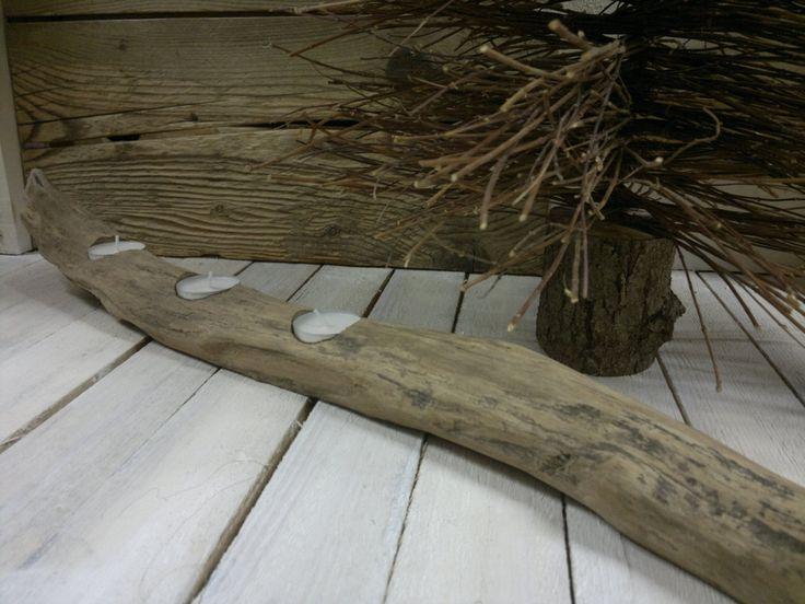 Portacandele in legno spiaggiato naturale, stile marino, casa di vacanza, decorare la tavola, portacandele rustico in legno, lume di candela di Engardina su Etsy
