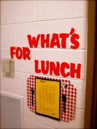 what's for lunch?  Cute way to display lunch choices