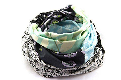 Bunter Loop Schal grau blau schwarz weiß, super zur Jeans, aus der LIEBLINGSMANUFAKTUR - Ein Unikat; wie Du selbst. Farbenfrohes Damen Tuch aus  reiner Baumwolle, das Deine Welt bunter macht.