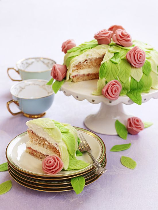 """A typical Swedish """"princess cake"""" has a layer of green marzipan and a pink rose in the middle, I like this version better (also if you read Swedish the recipe is for vegans and people with allergies)"""