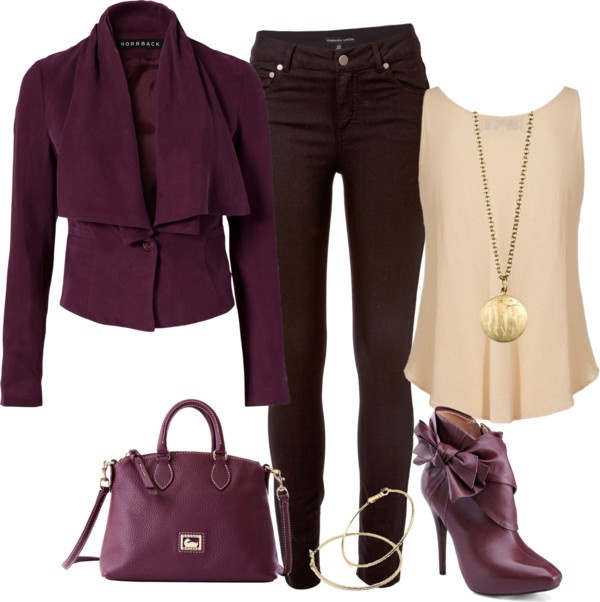 """""""Solids"""" by karen-keathley on Polyvore: Shoes, Moda Chic, Outfits, Fashion Ideas, Purple, Jackets, Colors Combinations, Burgundy, Boots"""