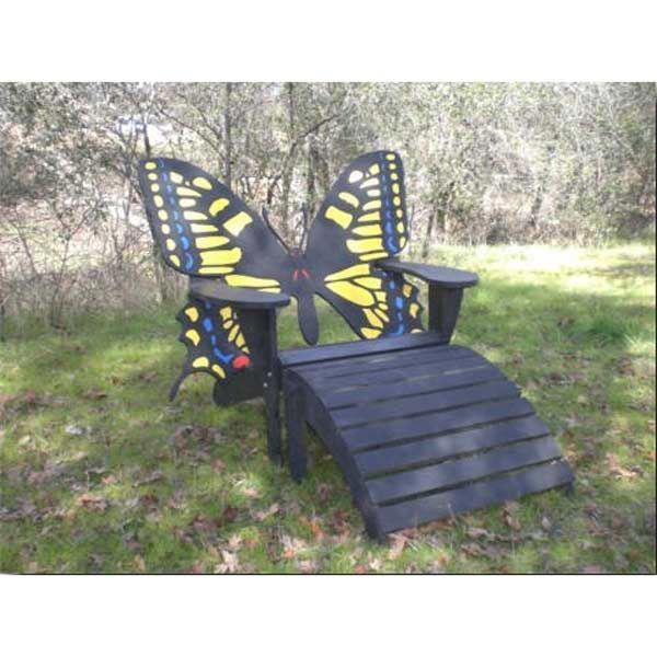 Attractive Butterfly Adirondack Chair And Footrest Woodworking Plan