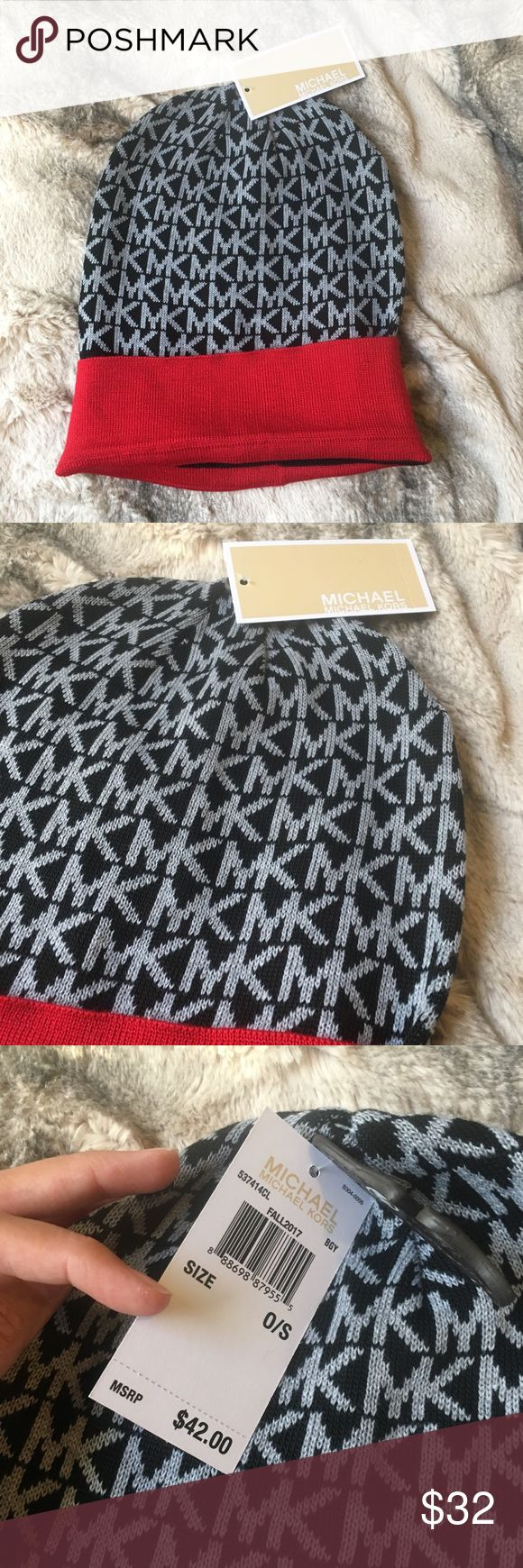 Michael Kors Beanie Hat BRAND NEW WITH TAGS Selling an authentic Michael Kors beanie. Brand new with tags! Can have a red lining or be rolled more for a black lining! Great for a Christmas present or gift idea! MICHAEL Michael Kors Accessories