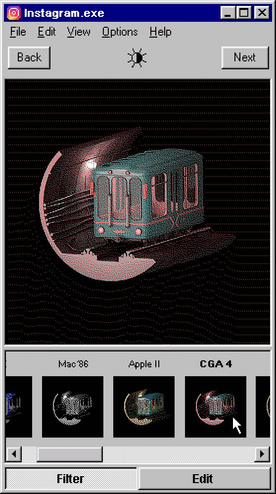 misha petrick envisions instagram on a windows 95 operating system, with its 8-bit graphics, pixelated sans serif font, and familiar teal blue background.