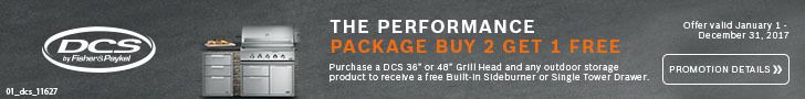 """Buy a DCS 36"""" or 48"""" grill head and any outdoor storage product and receive a free built-in side burner or single tower drawer. Offer valid through December 31. See details: http://www.bobmillers.com/promotions/promos"""