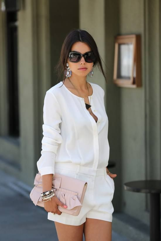 I'm a sucker for a classy romper. The white is a nice twist!
