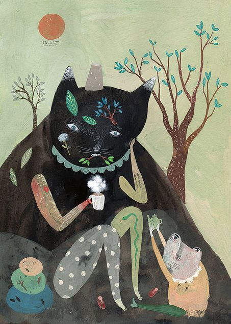 Inca Pan: Art Illustrations, Art Paintings, Animal Paintings, Cat Illustrations, Art Inspiration, Dogs Cat, Cat Paintings, Inca Pan, 川貝母 Inca
