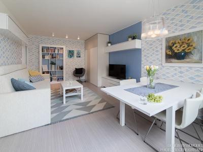 Obývací pokoj v panelovém domě na Vysočině