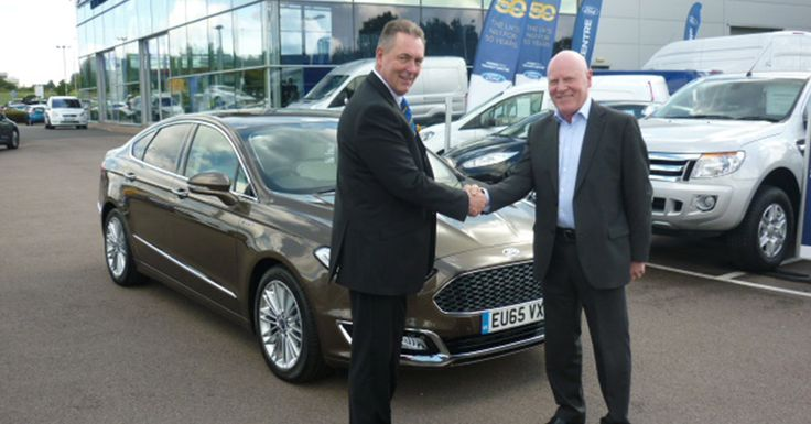 Don Barrett received his luxurious looking #65Plate All-New Ford Mondeo Vignale from Essex Ford's manager, Keith Janes