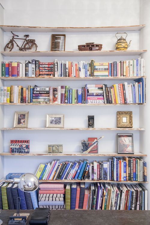 See and Feel Spatial Design - Bookshelves, photos and albums (photo albums are covered with Marimekko fabrics)