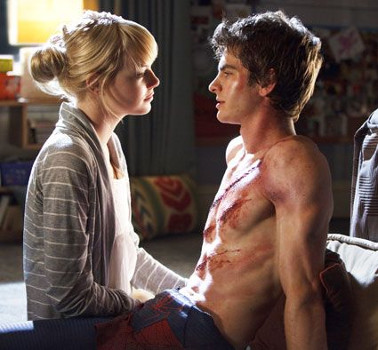 Andrew Garfield and Emma Stone in a scene from Spiderman