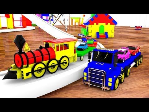 Giant Truck & Train Transporter Set Cars around the House - Kids Toys Fun Play Vehicles Kinder Edu