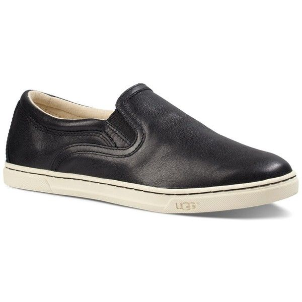 Ugg Fierce Leather Slip On Sneakers ($100) ❤ liked on Polyvore featuring shoes, sneakers, black, ugg sneakers, leather slip on shoes, black slip-on shoes, leather shoes and black slip-on sneakers