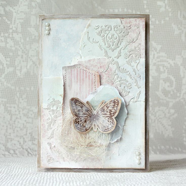 Handmade mixed media card with butterfly. Shabby chic. Made by pastellipäivä.