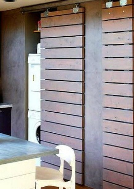 modern louvered sliding doors hide laundry closet from Sunset via Atticmag