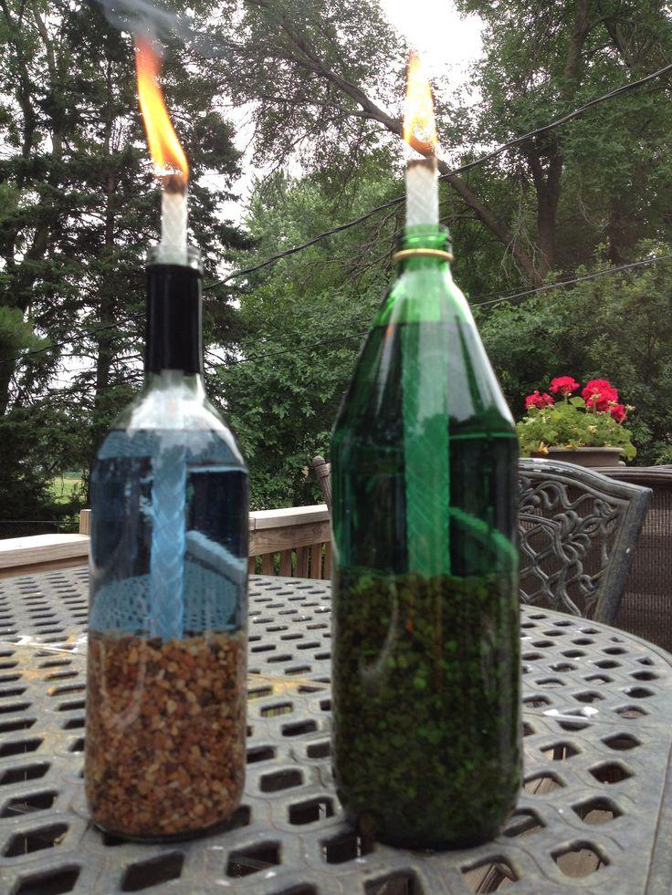 Diy wine bottle tiki torches backyards pinterest for Diy beer bottle tiki torches