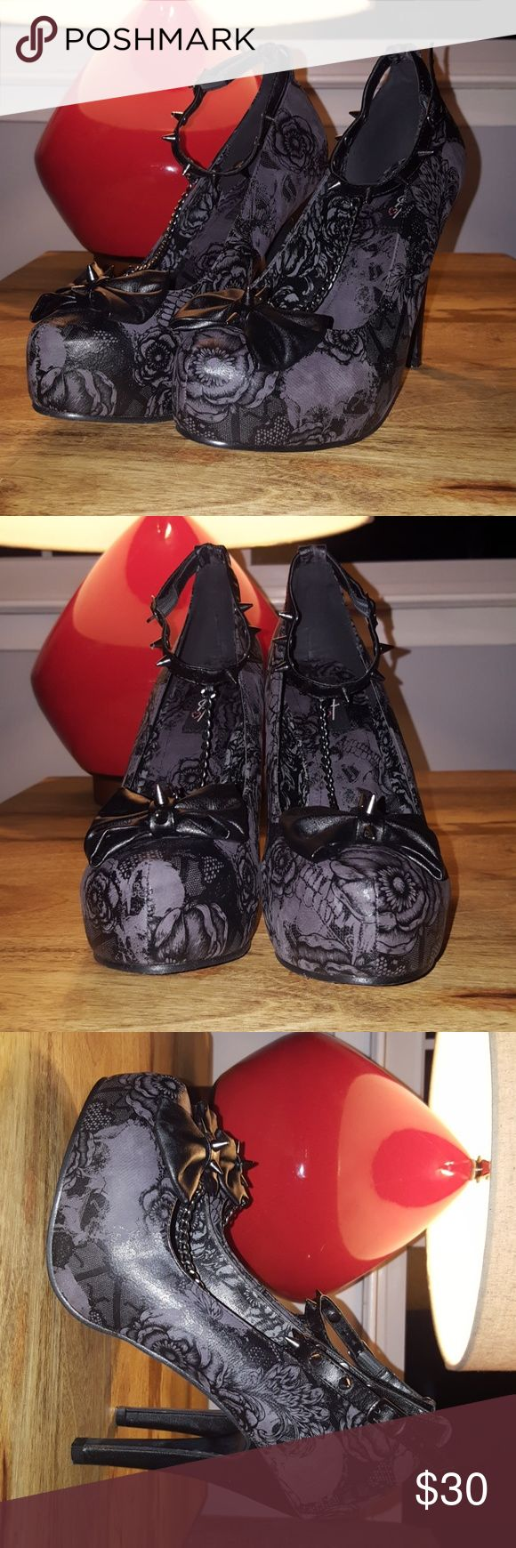 Shotgun Platform Iron Fist Heels Black Iron Fist Heels with a flower pattern and spikes. Worn only once or twice. Iron Fist Shoes Heels
