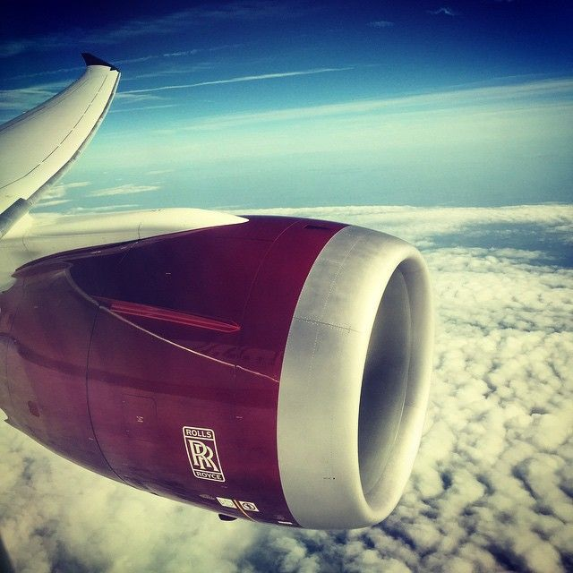 The view of one of two Rolls Royce Trent 1000 turbofans as installed on a Virgin Atlantic Boeing 787-9 Dreamliner