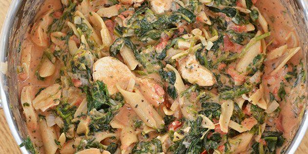 Toscansk pastaret med kylling og spinat