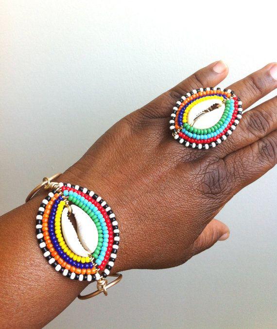 MAASAI SHIELD MINI Cowrie Shell Wrapped by ...