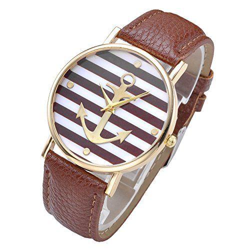 JS Direct Uhren,Vintage Damen Zebrastreifen Riefe Schiffer Anker Design Armabnduhr, Mädchen Analog Quarzuhr Damenuhr,Kaffee Lederarmband ,Top Geschenk