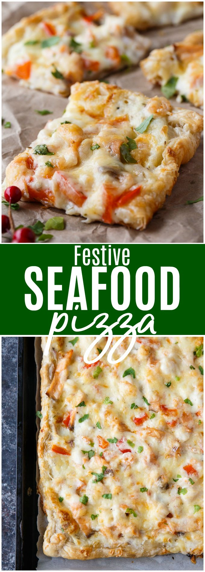 Festive Seafood Pizza – Serve this easy recipe as a holiday appetizer or as a main course paired with a green salad. Look for it in the 2018 #MilkCalendar from the Dairy Farmers of Canada #ad