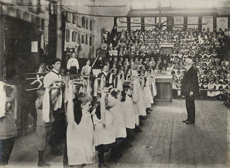 Children exercising at a school in Merthyr Tydfil, Wales c. 1890s