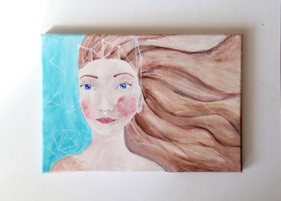 ORIGINAL painting Girl's portrait Warrior by NataliesWunderland