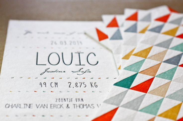 Strong design and a good printing office! Birth Announcement LOUIC - letterpress printing on Macho Mick - printed by Letterpressgust.com