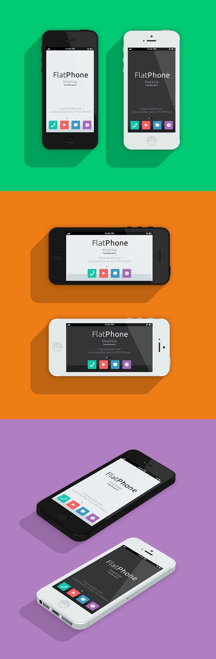FlatPhone Mockup | Freebie San - Get your design freebies for all your design needs