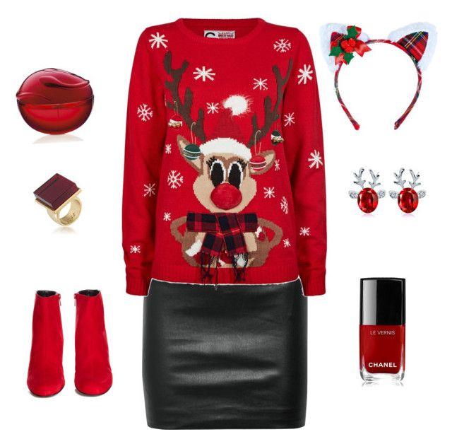 """Noël style"" by roseestlavie on Polyvore featuring mode, The Row, Yves Saint Laurent, Leg Avenue, Chanel et Trina Turk"