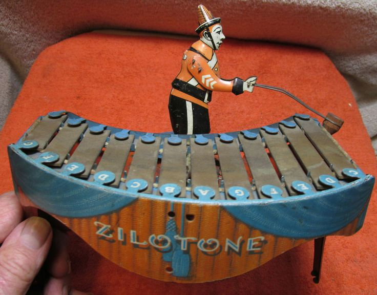 RARE ANTIQUE - ZILOTONE - WIND-UP TIN TOY - MUST SEE !!!