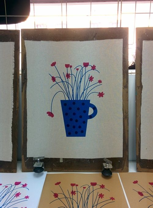 'Lovely Jug' Tea towel - Handprinted