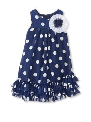 46% OFF Pippa & Julie Girl's Polka Dot Dress with Ruffle (Navy)