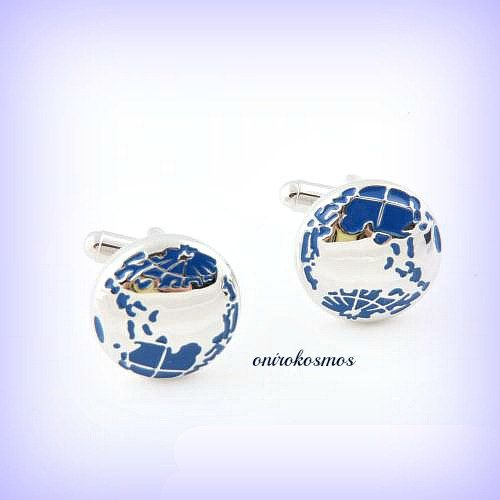 Planet Earth Stainless Steel Hand Enameled World Globe Travel Geography Map Cufflinks.