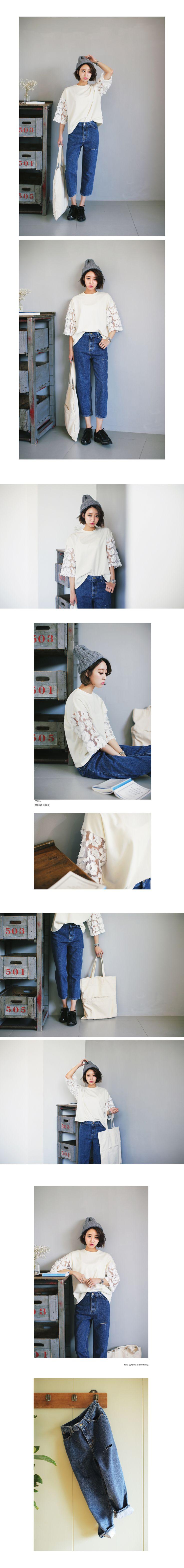 ワイドシースルースリーブTシャツ・全2色トップス・カットソーカットソー・Tシャツ レディースファッション通販 DHOLICディーホリック [ファストファッション 水着 ワンピース]