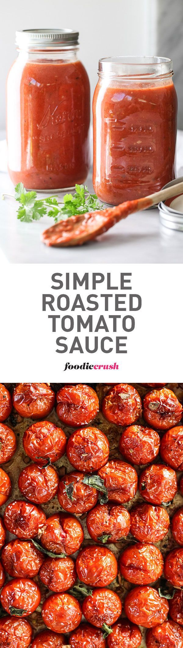 The secret to this favorite sauce #recipe starts with fresh tomatoes that are roasted in the oven to make them extra sweet all year round   http://foodiecrush.com