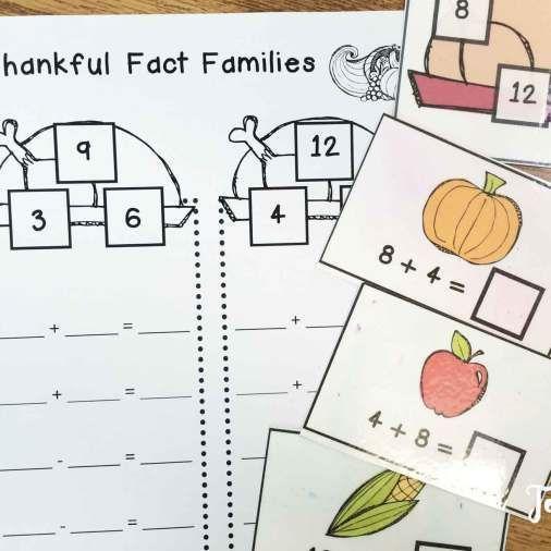 Thanksgiving math centers- fact families