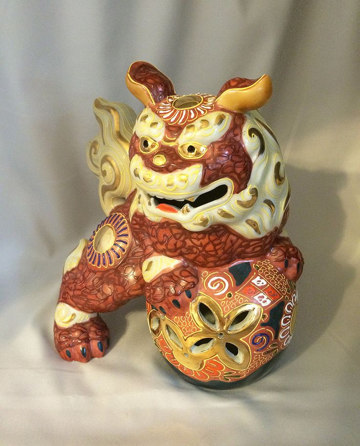 Vintage Kutani Foo Dog Statue Gilt Moriage Guardian Lion By Coololdstufffor Vibrant Persimmon Colored Porcelain Ceramic With Hand Painted Gold