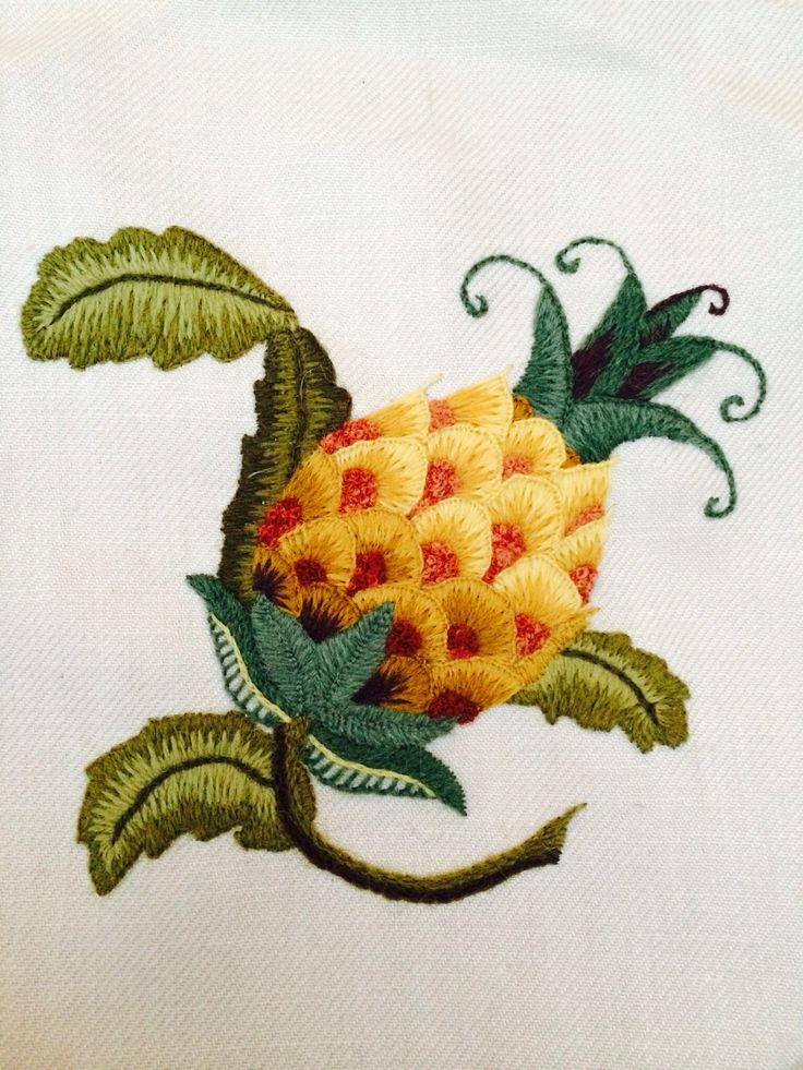Crewelwork pineapple. Appleton's wool stitched onto linen twill - Lovely!