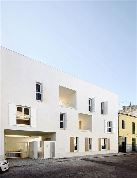 Exterior view of Sa Pobla Social Housing. Photo: José Hevia (arcspace.com)