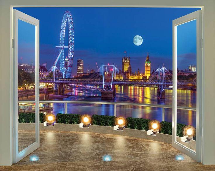 Londen skyline Posterbehang, fotobehang. Breng dit behang aan op de muur en het lijkt wel of je van je eigen balkon het mooiste uitzicht hebt op de skyline van