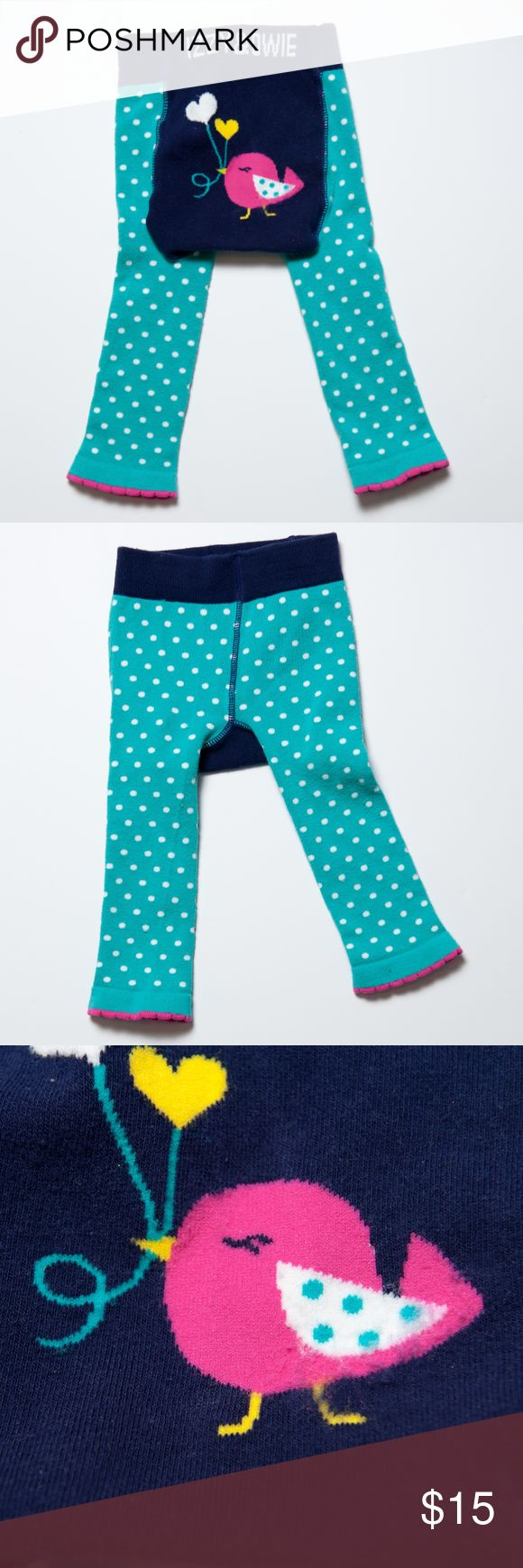 Izzy & Owie Aqua Navy Polkadot Birdie Leggins 6-12 Great used condition. Worn 1 or 2 times. 6-12 months Izzy & Owie baby/toddler leggings. Stretchy material with baby birdie and heart design on the back side. Navy with aqua and blue polkadots. Izzy & Owie Bottoms Leggings