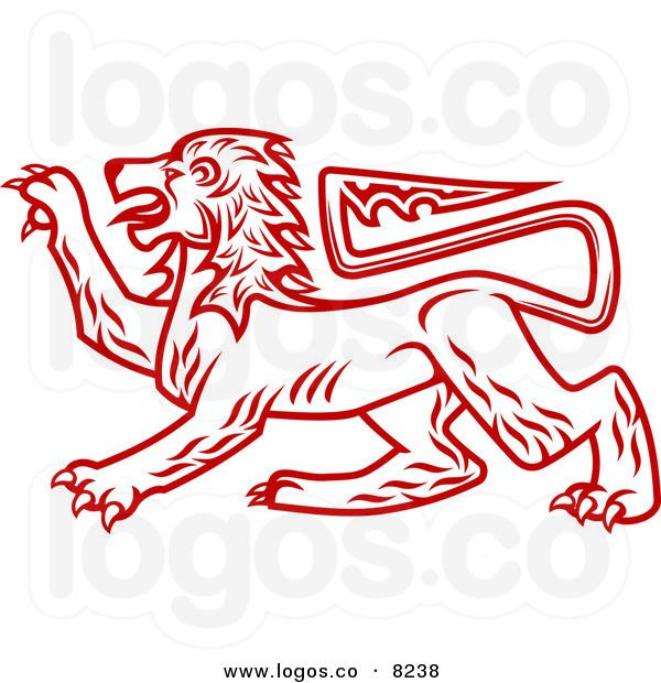 Royalty Free Vector of a Red Heraldic Lion Logo