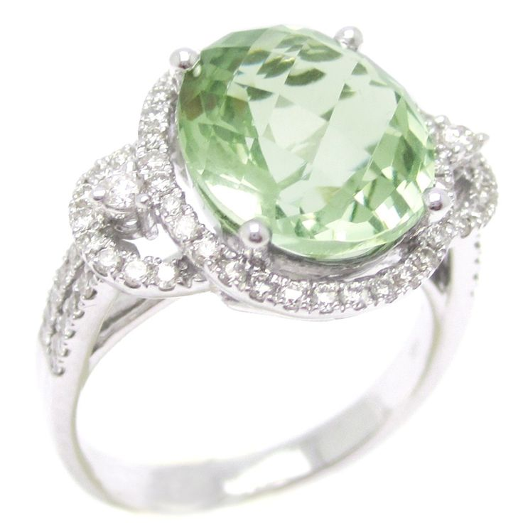 Oval Cut Green Topaz & Diamonds Engagement Ring Antique Style GTP100