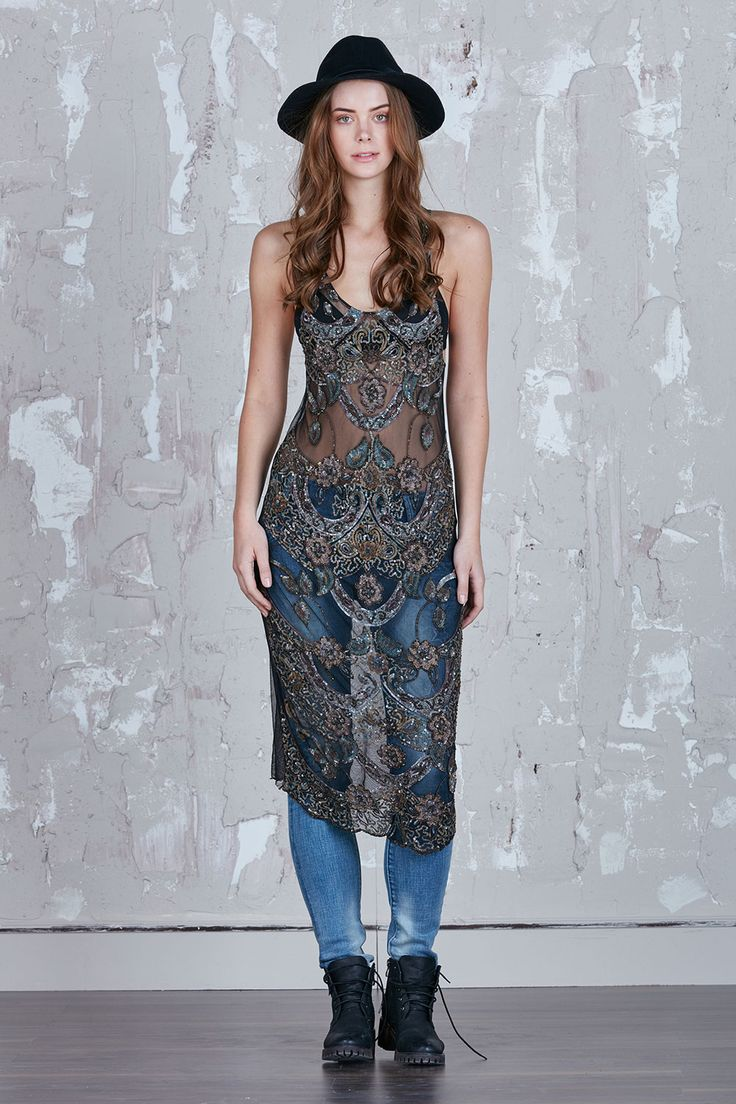 New Womenswear Brand Alilia - How about adding a little ethnic touch to that boho gypsy style? This sheer nylon beaded tunic dress will spice up that jeans style…..Don't forget to wear a black felt fedora to give that Kate Moss edge.