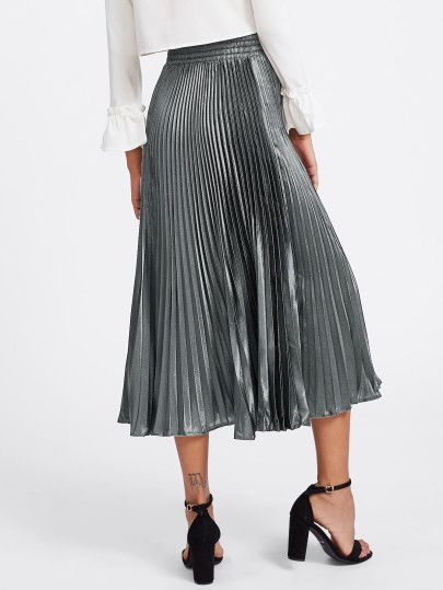Shop Box Pleated Satin Skirt online. SheIn offers Box Pleated Satin Skirt & more to fit your fashionable needs.
