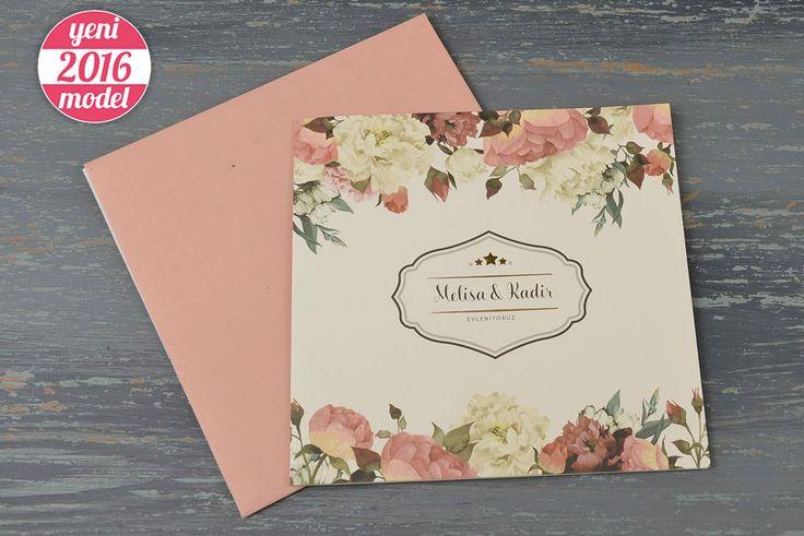 Bahar Çiçekleriyle Süslü Retro Düğün Davetiyesi 20198