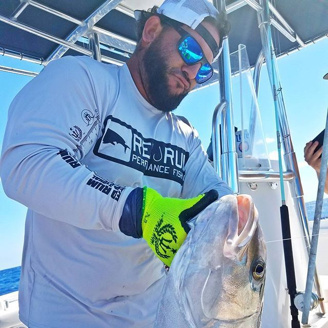 Captain Desi Perez of @nodoubtcharters19 with a nice AJ yesterday off the 310' wreck! If you're looking for a personalized fishing experience in Key West for up to 4 people, look no further then No Doubt Fishing Charters!  #redrumintl #redrum #diving #fishing #boarding #living #tropicallifestyle #keywest #fishingshirts #tropicalclothing