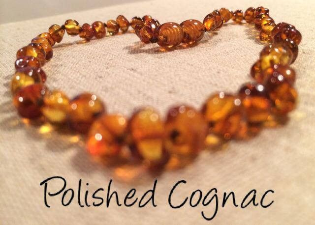 11 In Amber Teething Necklace Raw Polish Basic Infant Screw Pop Clasp